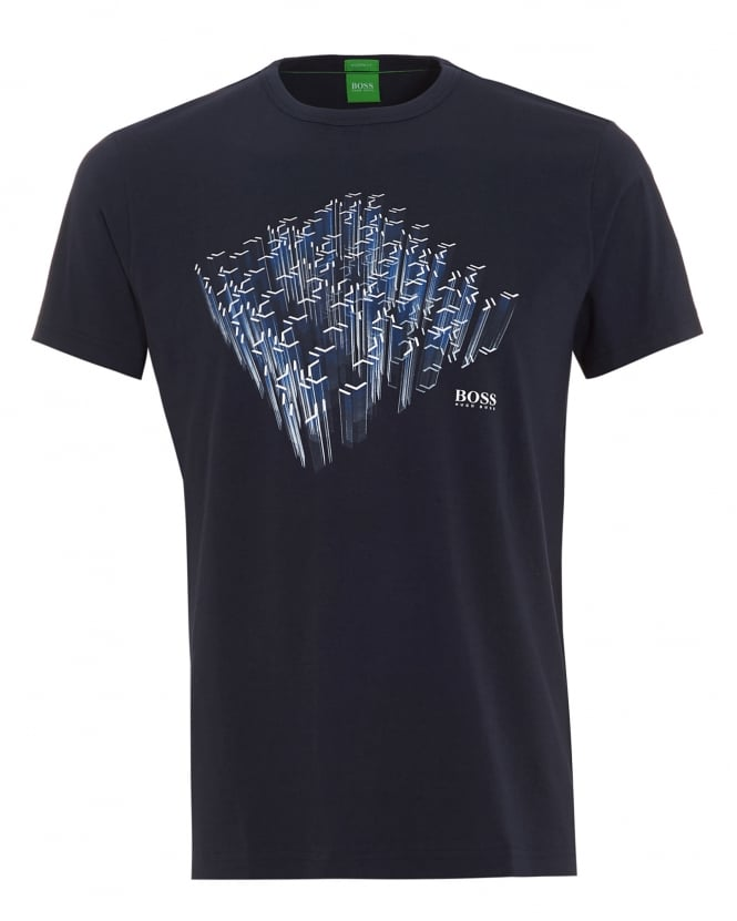 BOSS Athleisure Mens Tee 3 Diamond Graphic T-Shirt Navy