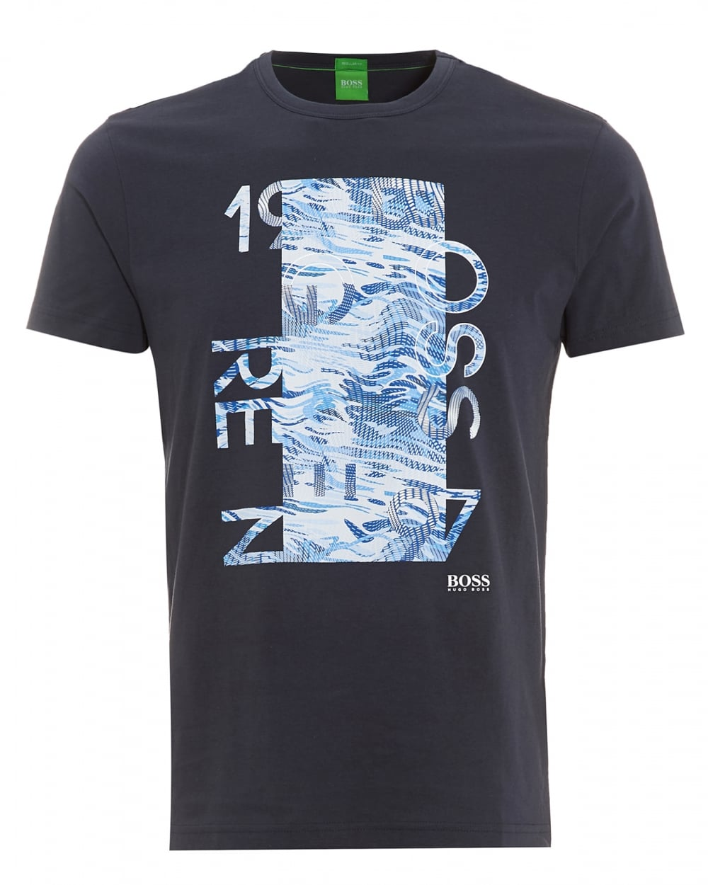 Hugo boss green mens tee 4 navy blue graphic print t shirt for Graphic t shirt printing company
