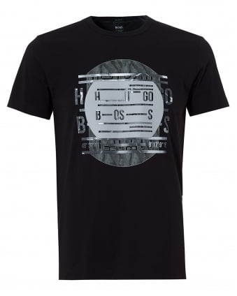 Mens Tee 4 T-Shirt, Record Deck Print Black Tee