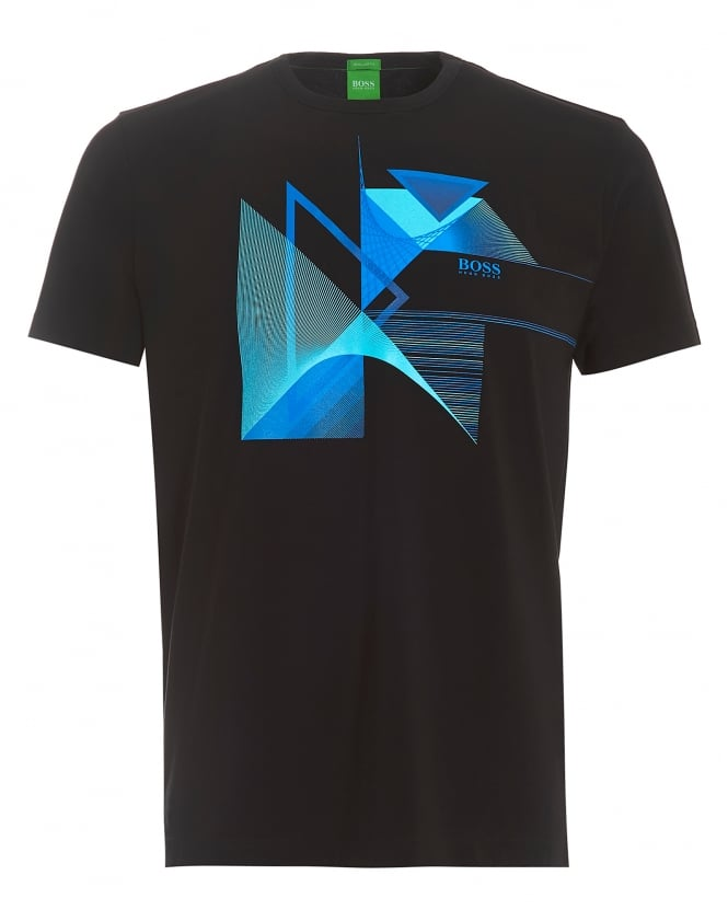 Hugo Boss Green Mens Tee 7, Black Geometric Triangles Graphic T-Shirt