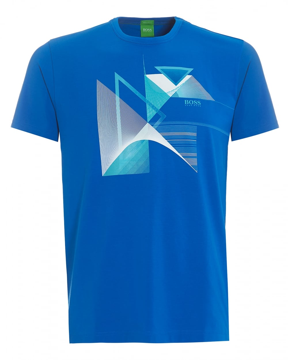 Mens Tee 7, Victoria Blue Geometric Triangles Graphic T-Shirt