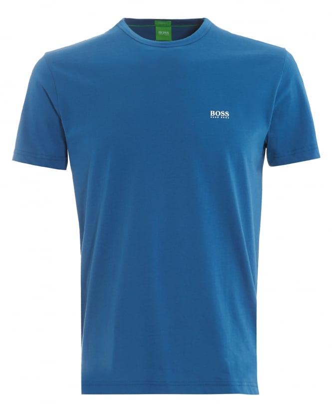 Hugo boss green mens tee blue logo t shirt for Boss mens t shirts