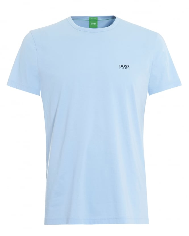 Hugo Boss Green Mens Tee, Plain Basic Chambray Blue Logo T-Shirt