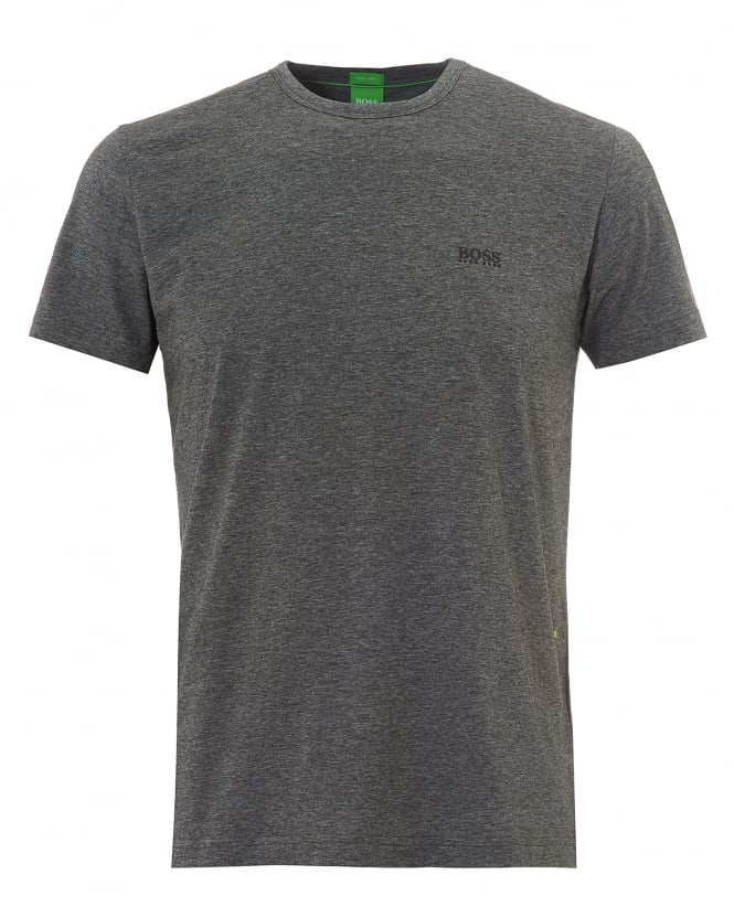 Hugo Boss Green Mens Tee, Plain Basic Grey Melange T-Shirt