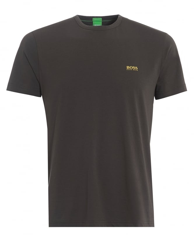 Hugo Boss Green Mens Tee, Plain Basic Raven Grey Logo T-Shirt