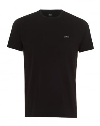 Mens Tee T-Shirt, Basic Shoulder Logo Black Tee
