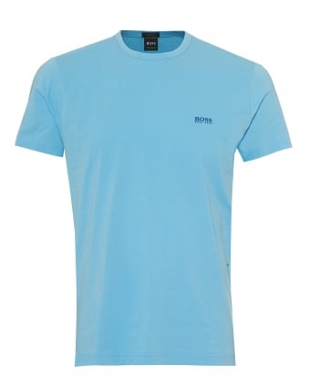 Mens Tee T-Shirt, Basic Shoulder Logo Sky Blue Tee
