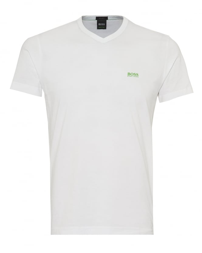 BOSS Athleisure Mens Teevn T-Shirt, V Neck White Tee