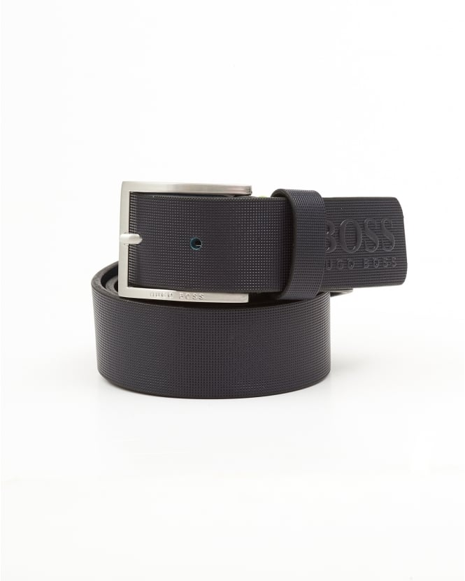Hugo Boss Green Mens Tienzo Textured Leather Navy Blue Belt