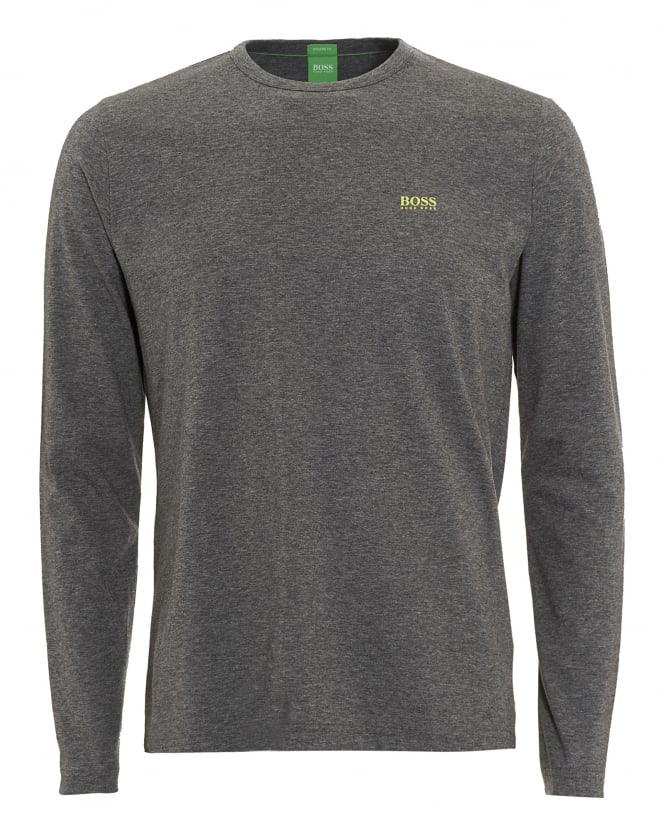 Hugo Boss Green Mens Togn T-Shirt, Long Sleeve Grey Tee