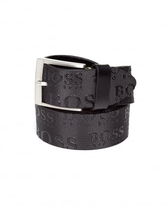 Mens Torialo Logo Embossed Strap Black Belt