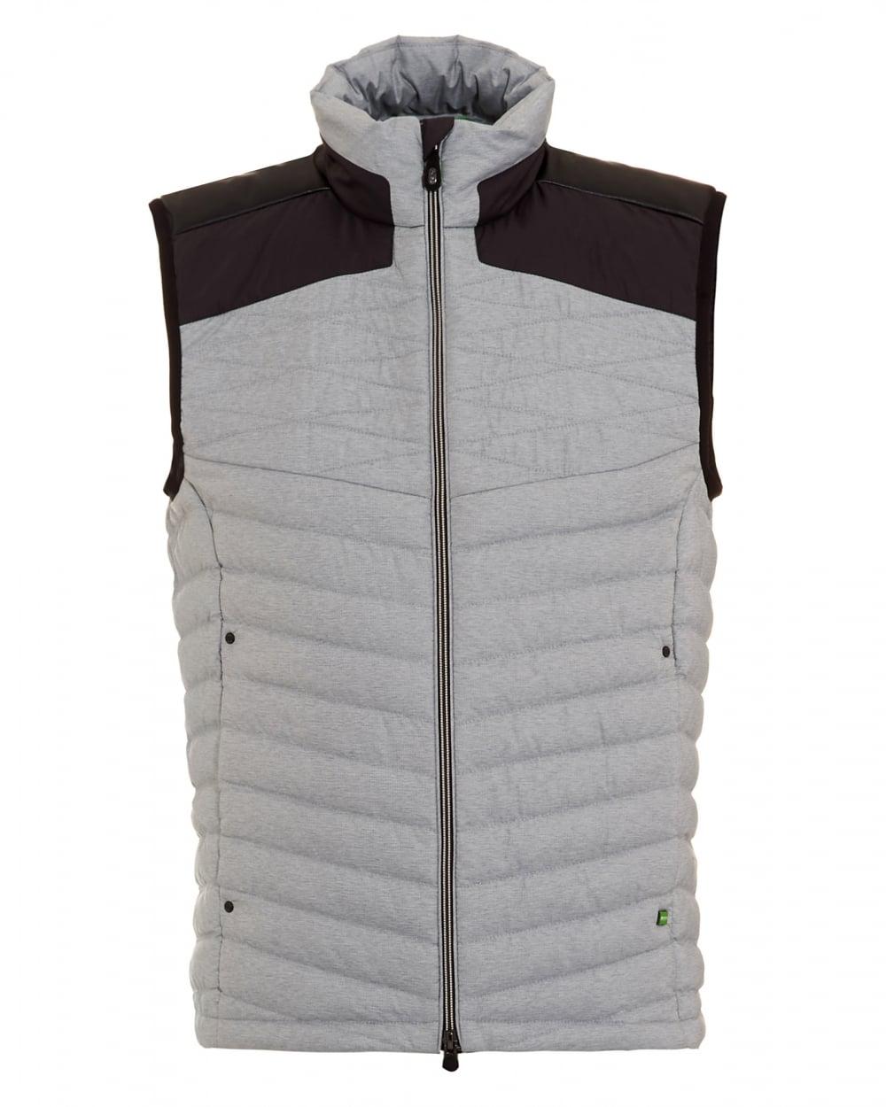hugo boss green mens vaboko gilet grey two tone quilted jacket. Black Bedroom Furniture Sets. Home Design Ideas