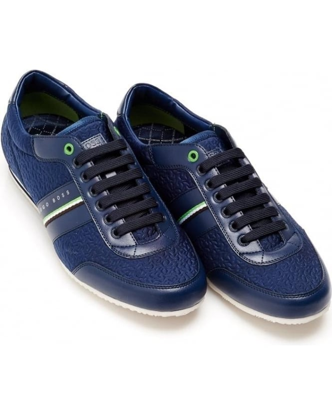Hugo Boss Green Mens Vantage_Lowp_neem Trainers, Blue Lace Up Sneakers