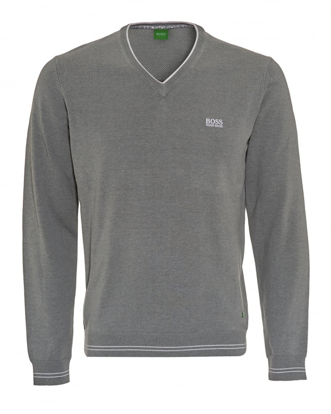 Hugo Boss Green Mens Vime_S17 Jumper, Grey Piped V-Neck Sweatshirt