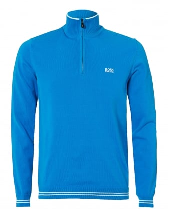 Mens Zime Jumper, Half Zip New Cotton Stretch Blue Astor Jumper