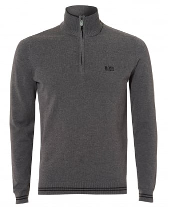 Mens Zime Jumper, Half Zip New Cotton Stretch Grey Jumper