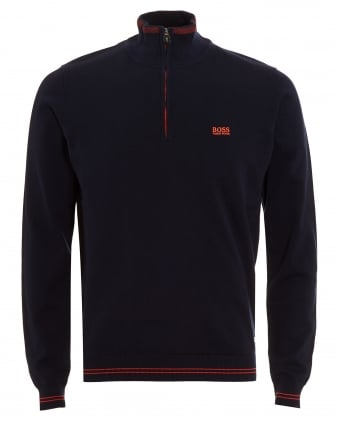 Mens Zime Jumper, Quarter Zip Dark Navy Blue Sweatshirt