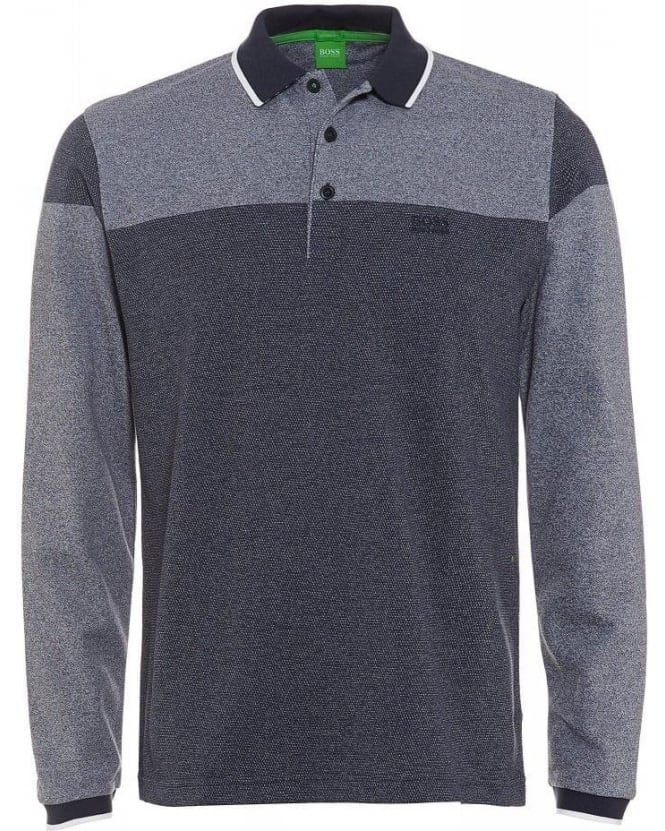 Hugo Boss Green Plisy 1 Long Sleeve Grey Two Tone Polo Shirt
