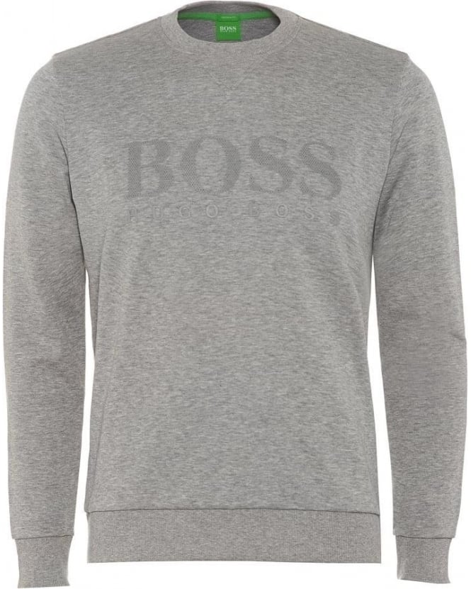 Hugo Boss Green Salbo Mens Sweatshirt Large Logo Light Grey Jumper