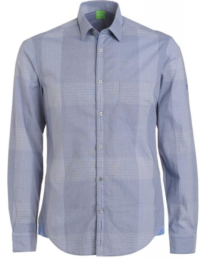 Hugo Boss Green Shirt, Blue Check Pattern Regular Fit 'Baciu' Shirt