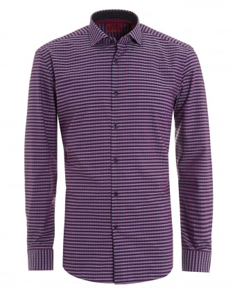 Mens Aubergine Purple Slim Fit Gingham Checked Shirt