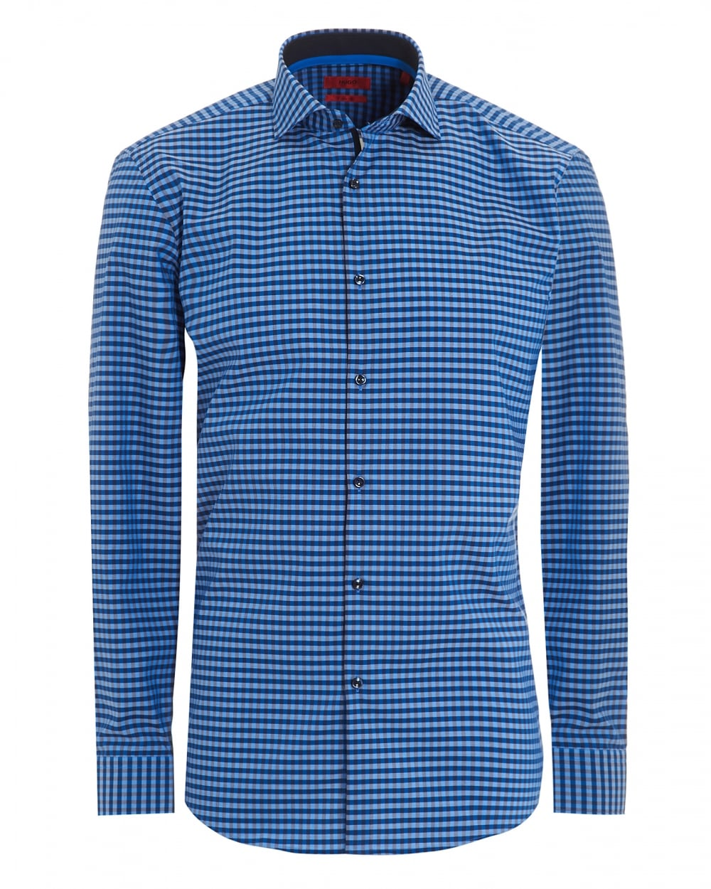 hugo boss hugo mens blue slim fit gingham checked shirt. Black Bedroom Furniture Sets. Home Design Ideas