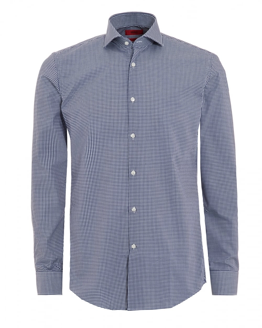 Hugo boss mens c jason shirt long sleeve blue gingham shirt for Mens blue gingham shirt