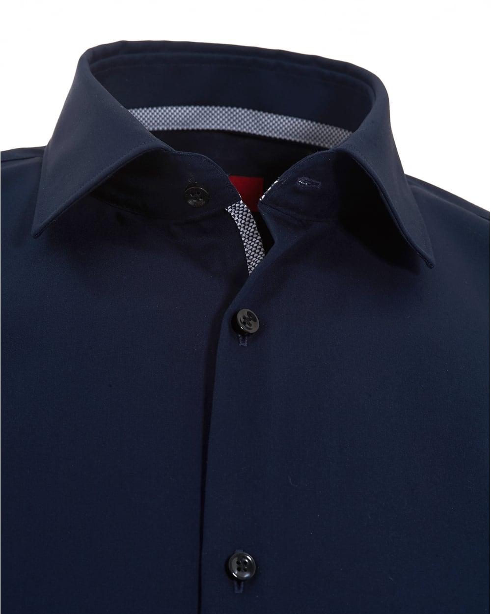 Blue cotton shirt mens artee shirt for Hugo boss navy shirt