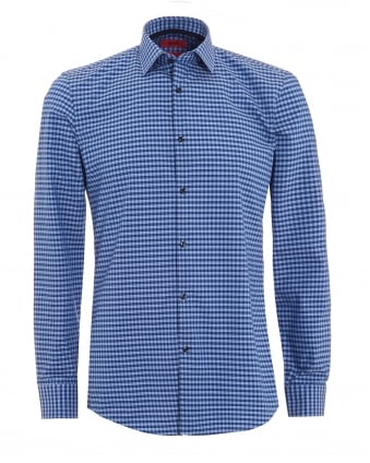 Mens C-Joey Shirt, Small Check Blue Cotton Shirt