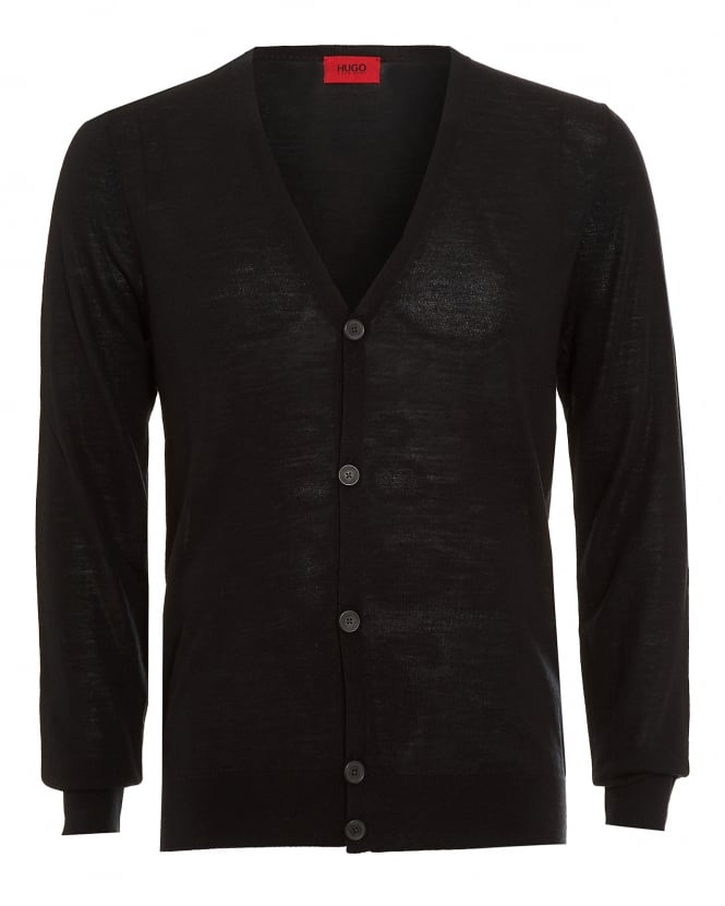 Hugo Boss - Hugo Mens Cardigan, San Martino Business Fit Wool Black Jumper