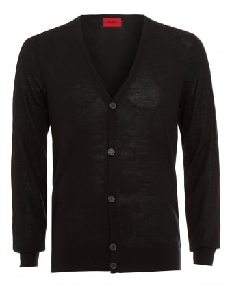 Mens Cardigan, San Martino Business Fit Wool Black Jumper
