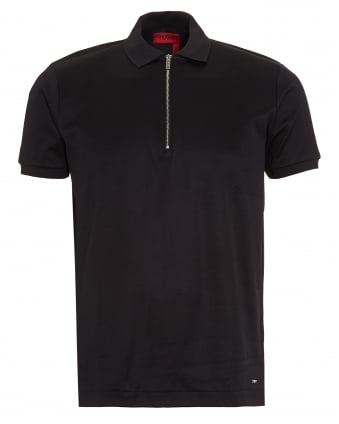 Mens Digato Polo Shirt, Black Regular Fit Zip Polo
