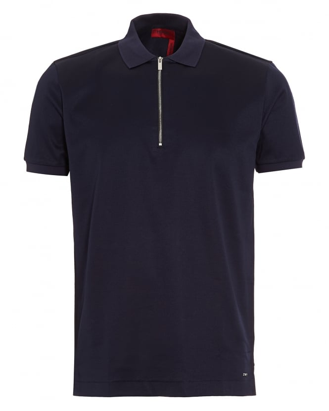 Hugo Boss - Hugo Mens Digato Polo Shirt, Navy Blue Regular Fit Zip Polo