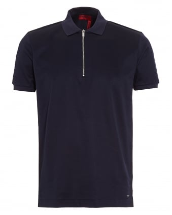 Mens Digato Polo Shirt, Navy Blue Regular Fit Zip Polo