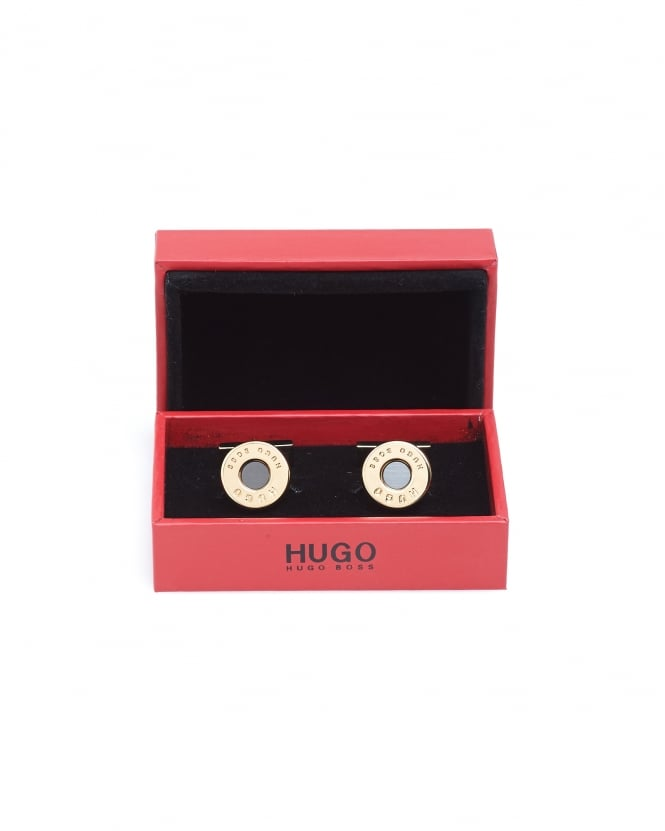 Hugo Boss - Hugo Mens E-Bullet Gold-Look Round Cufflinks