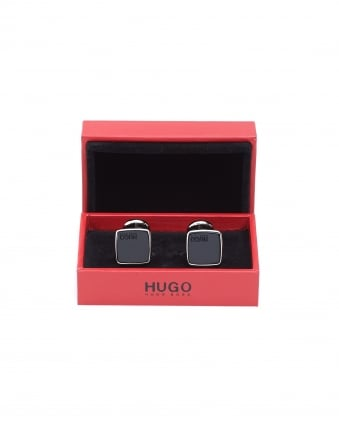 Mens E-Stain Zinc Black Square Cufflinks
