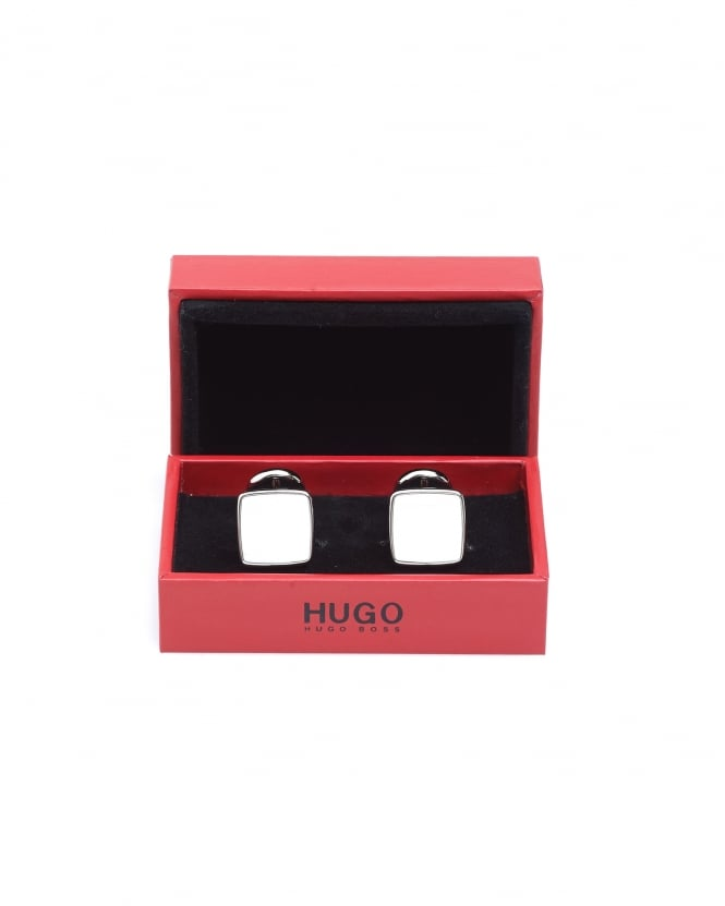 Hugo Boss - Hugo Mens E-Stain Zinc White Square Cufflinks