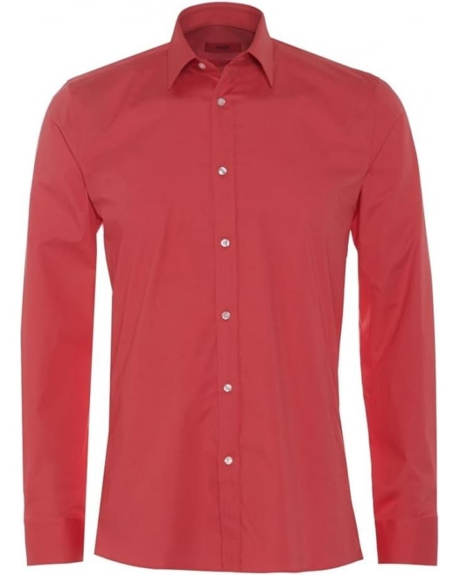 Hugo Boss - Hugo Mens Elisha Shirt, Slim Fit Coral Pink Shirt