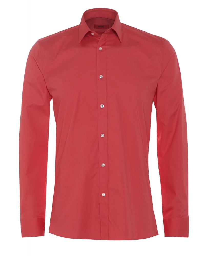 Hugo Mens Elisha Shirt, Slim Fit Coral Pink Shirt