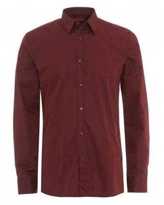 Mens Elisha Slim Fit Burgundy Shirt