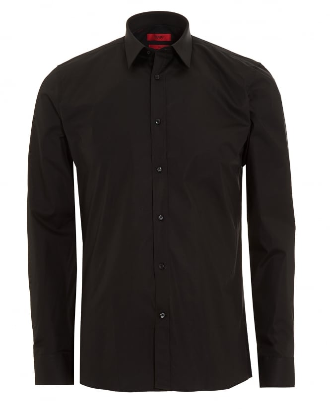 Hugo Boss - Hugo Mens Elisha Slim Fit Stretch Cotton Black Shirt