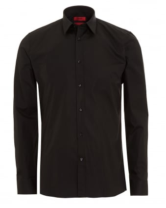 Mens Elisha Slim Fit Stretch Cotton Black Shirt