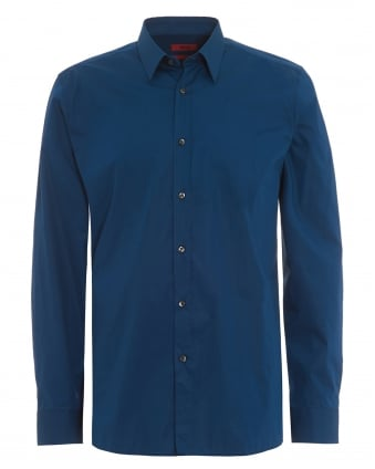 Mens Elisha Slim Fit Teal Blue Shirt