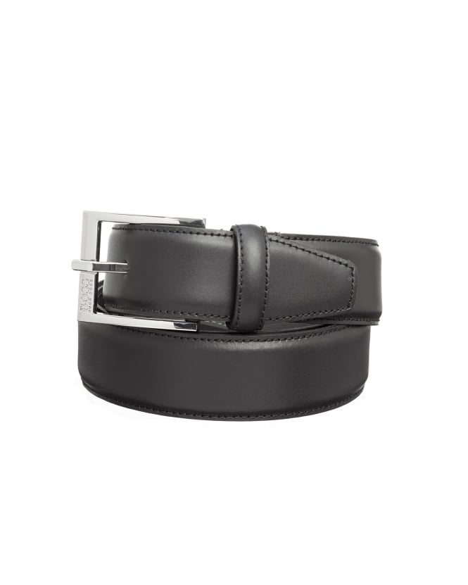 Hugo Boss - Hugo Mens Ellotyo Belt, Smoked Silver Keeper Black Belt