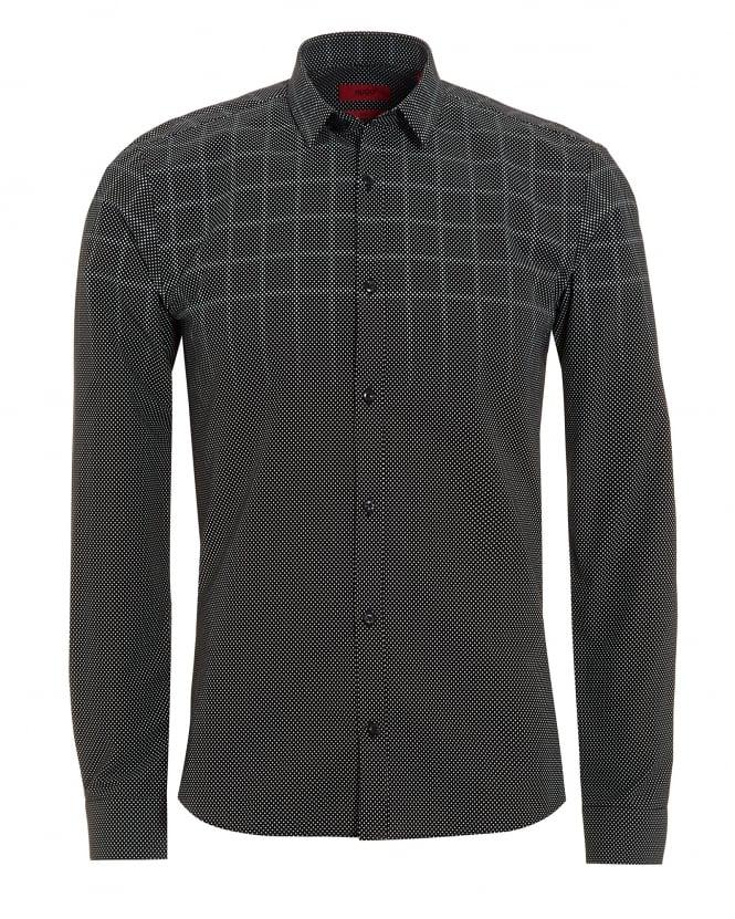 Hugo boss mens ero3 shirt gradient grey polka dot check shirt for Hugo boss formal shirts