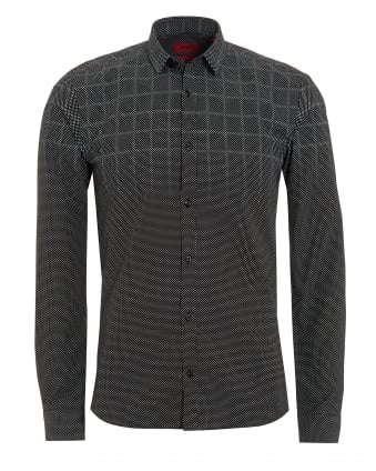 Mens Ero3 Shirt, Gradient Grey Polka Dot Check Shirt