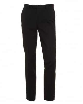 Mens Heilon Black Slim Fit Stretch Cotton Trousers