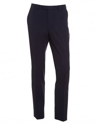 Mens Heilon Navy Blue Slim Fit Stretch Cotton Trousers