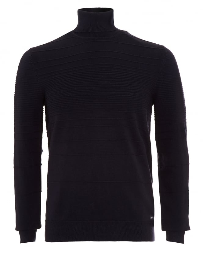 Hugo Boss - Hugo Mens Jumper, Siseal Slim Fit Polo Neck Navy Blue Sweater