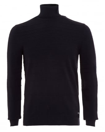 Mens Jumper, Siseal Slim Fit Polo Neck Navy Blue Sweater